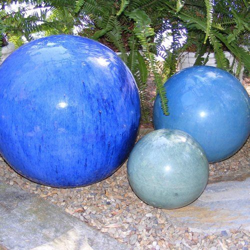 Ceramic Gazing Balls So Much Less Breakable Than Glass Gazing Ball Garden Spheres Blue Garden