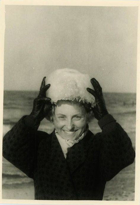 Vintage Photo Ice Head Winter Prop Funny Woman Girl by DandRPhotos