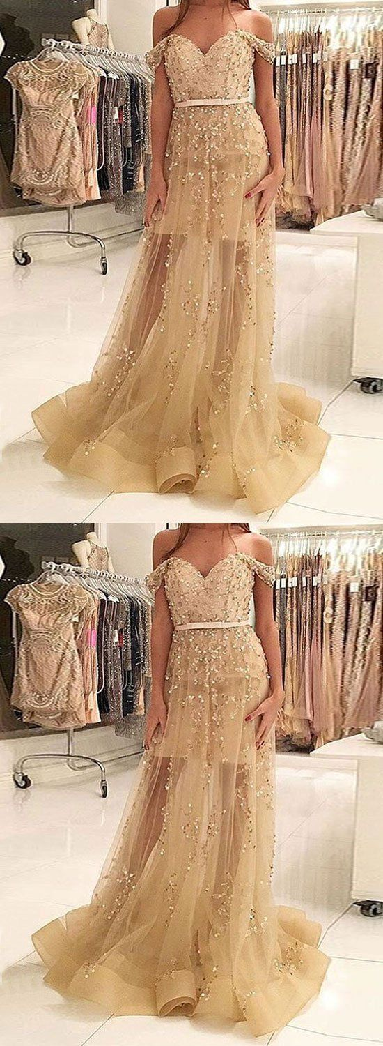 Gold sequins tulle long prom dress gold evening dress dresses and