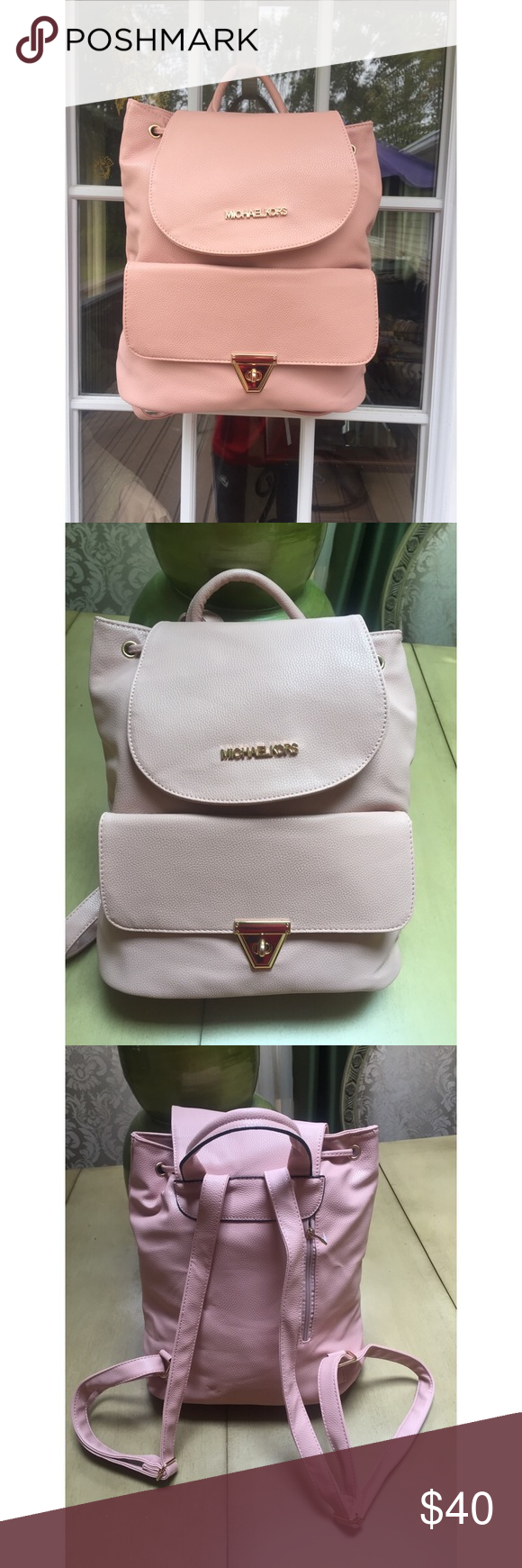 e38fa726742d72 Pink Michael Kors backpack! Cute designer inspired Michael Kors back pack.  The height is 13 1/2, the length is about 15 inches, and the width is about  4 ...