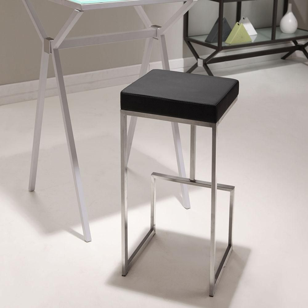 Made From 100 Stainless Steel And A Plush Leatherette Seat The Darwen Is The Perfect Mix Of Comfort And Sophistication Bar Stools Black Bar Stools Bar Chairs