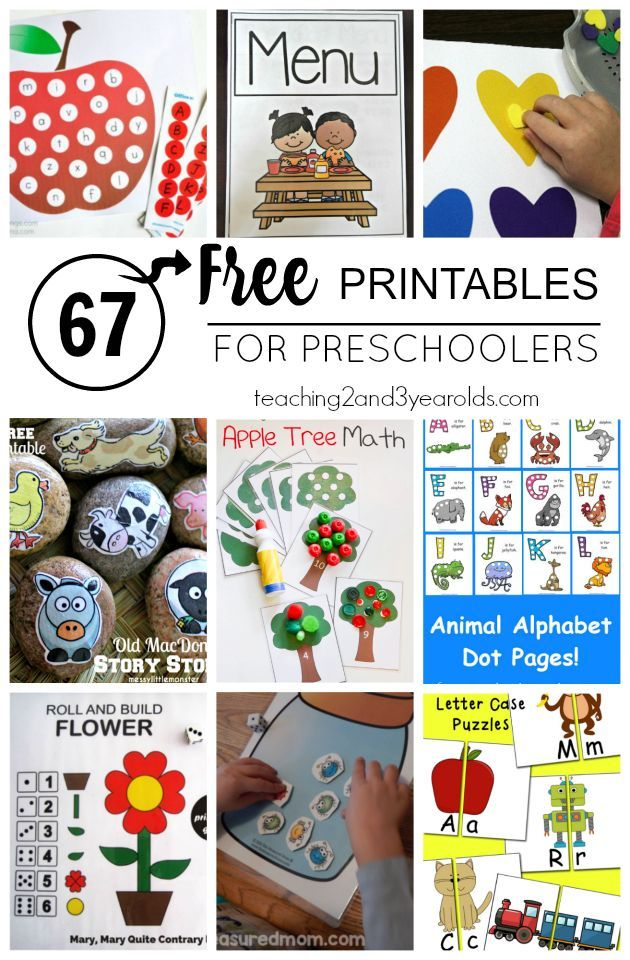 Big Collection Of Free Preschool Printables For School And