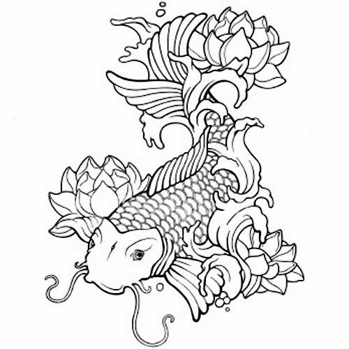 Koi fish tattoo stencils color pages pinterest for All black koi fish