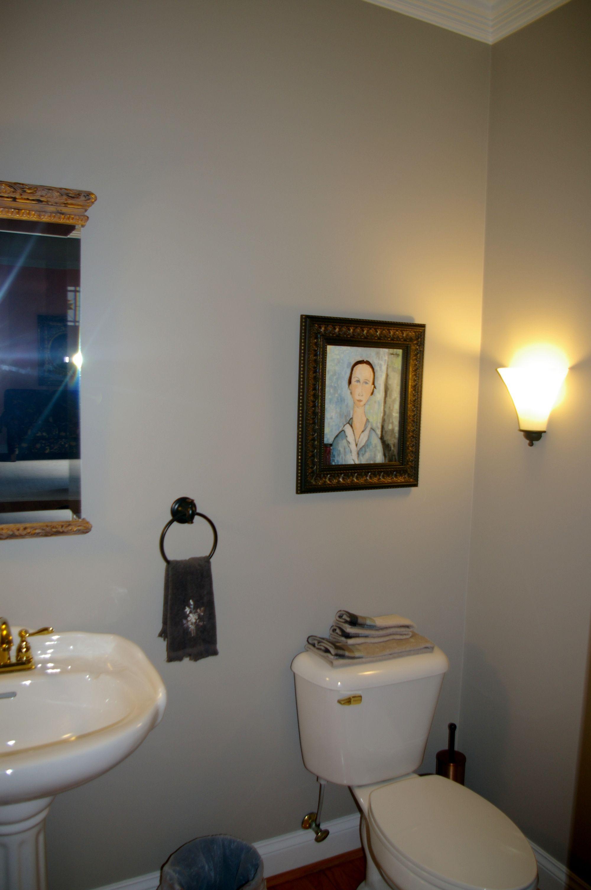Blue Half Bathroom: Repainted The Old Parlor Half Bathroom From A Dark Navy