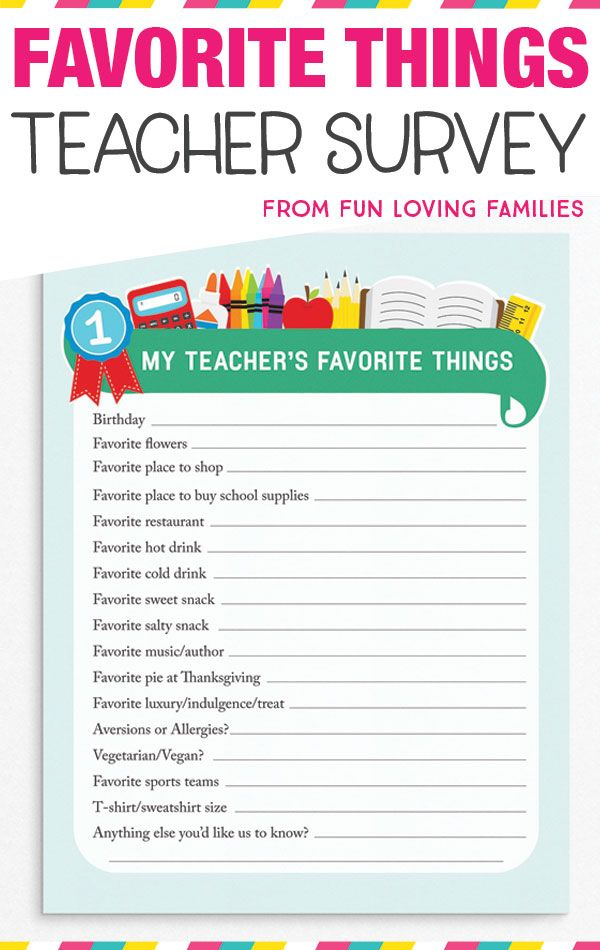 image relating to Teacher Favorite Things Printable called Trainer Beloved Variables: Printable Questionnaire for Instructor