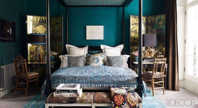 Fashion Editor Kim Hersov S London Home Blue Master Bedroom Teal Bedroom Bedroom Design Dark turquoise bedroom ideas