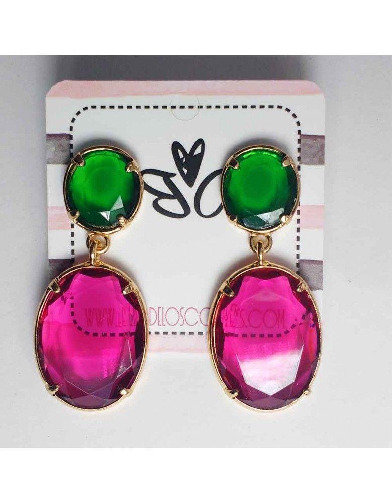 1e66ef042ff7 Elegantes pendientes combinados en rosa y verde ideales para tus looks más  elegantes
