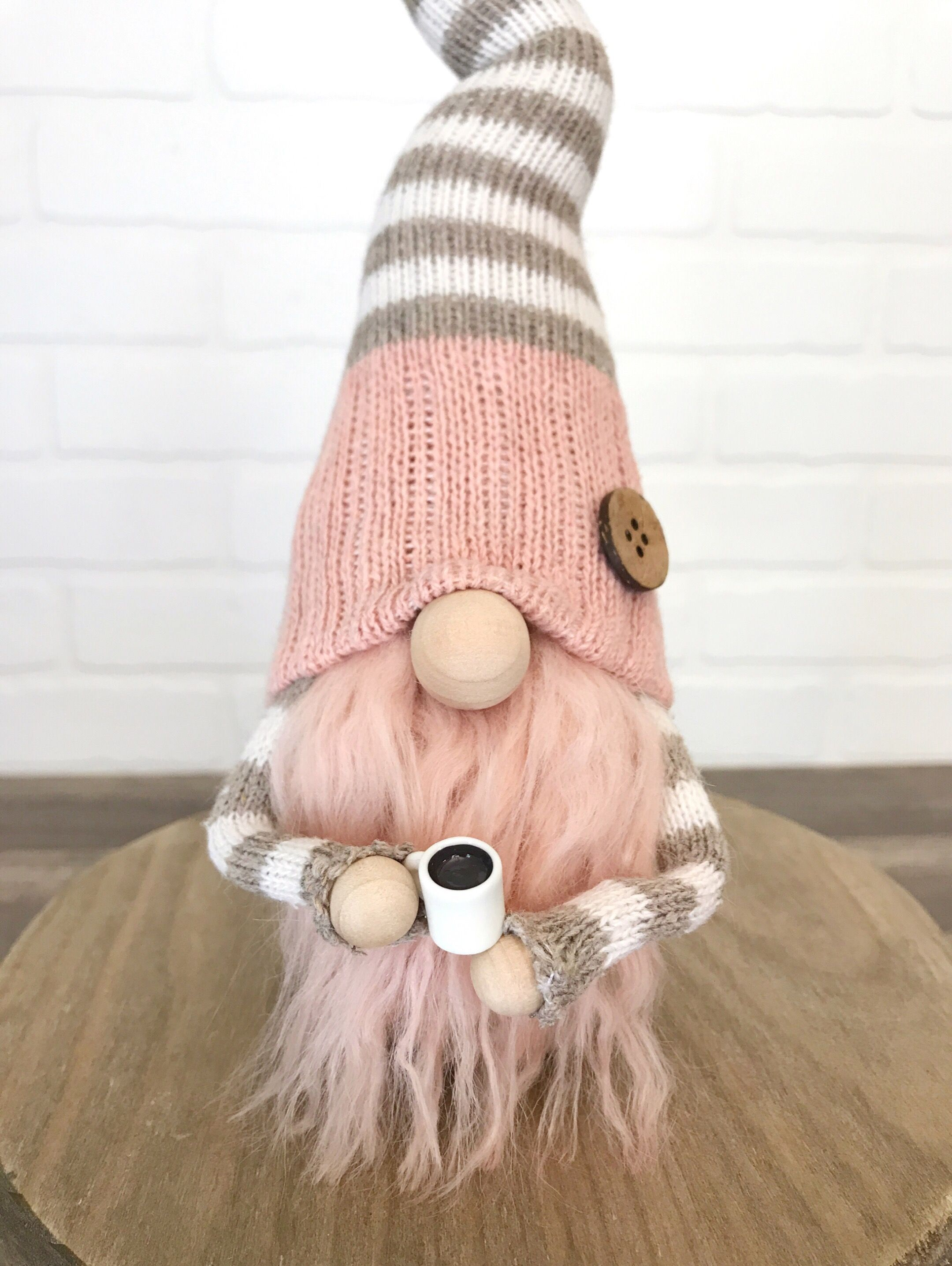 Pink And Tan Coffee Gnome Adorable Gnome With A Little Cup Of