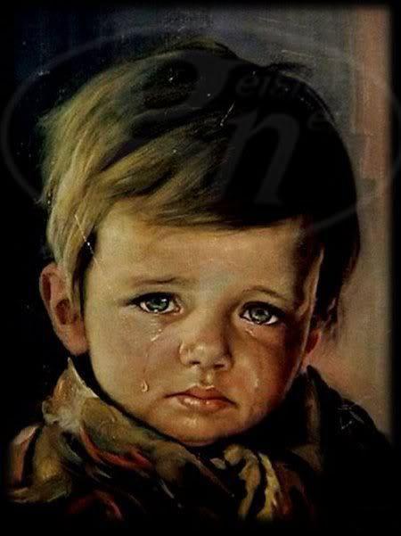 meisje met traan schilderij