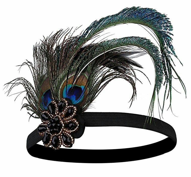 Peacock Gatsby Headpiece Flapper 1920s 20s Costume Headband Feather Gangster