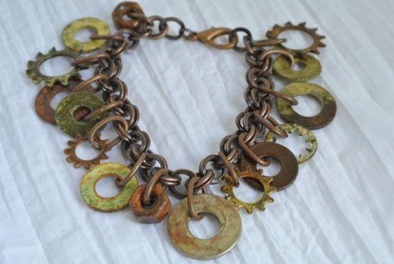 Hardware Jewelry - Oxidized Washer Charm Bracelet With Nuts Please