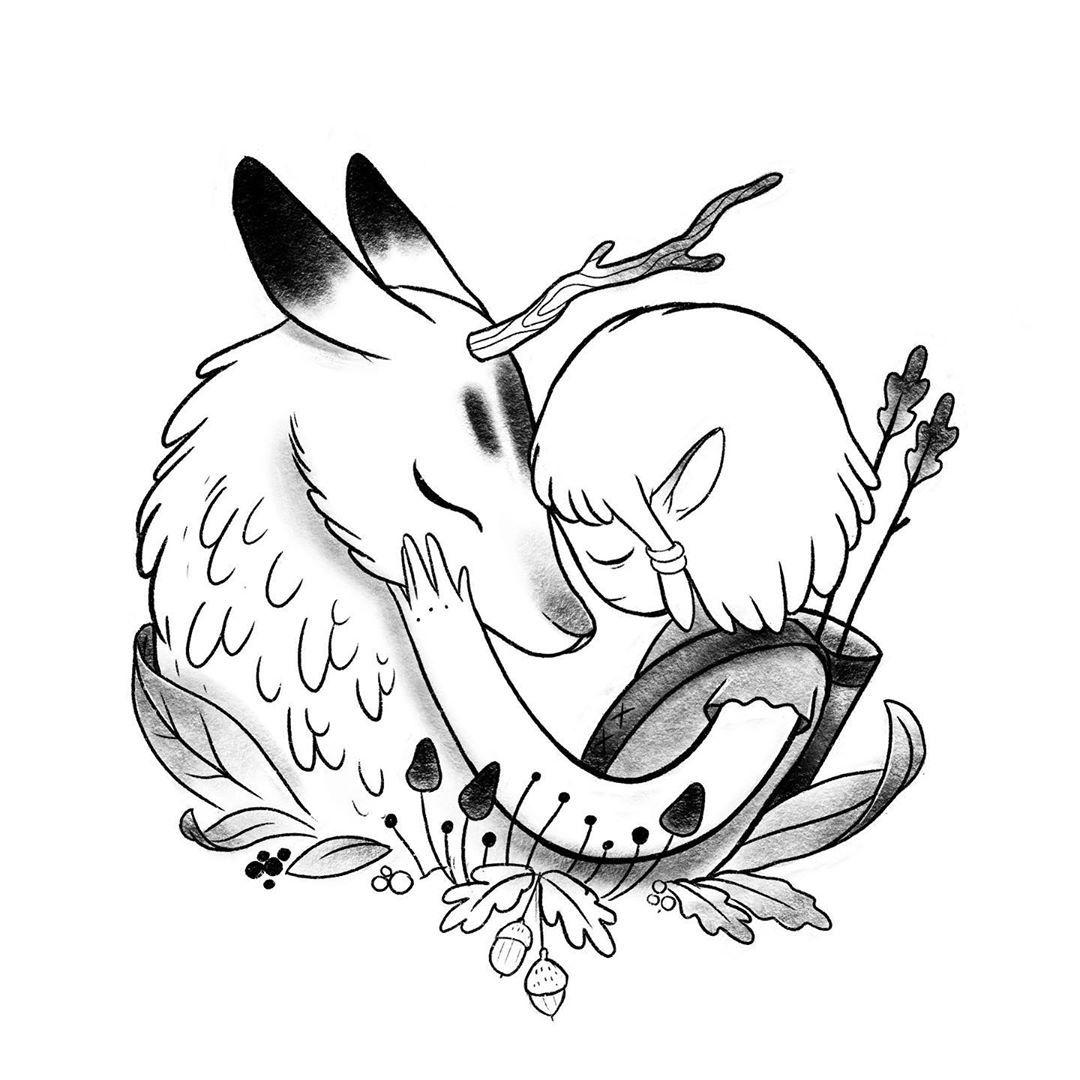 🖤 booking by @prism.warsaw #fiendship #love #soulmate #narure #darkcrystal #tatt #tattoo #tattooinspiration #polandtattoos #deer #tattooflash #elf #elftattoo #friends #characterdesign #illustration #comictattoo #sketchytattoo #vegantattoo