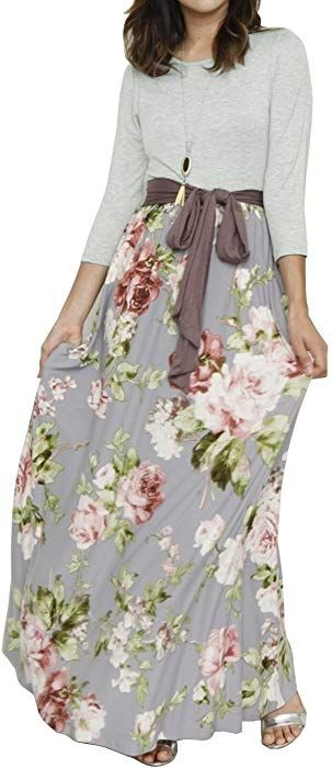 f32f780971a Valphsio Womens Drap Belt Elegant Maxi Dress 3 4 Sleeve Pocketed Floral  Cocktail Outfit at