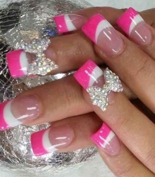 Pink and White French Tip Nails With Rhinestone 3d Bow.....minus - Pink And White French Tip Nails With Rhinestone 3d Bow.....minus