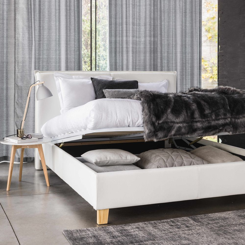 holzbett mit lattenrost und bettkasten 160x200 wei maisons du monde bedroom. Black Bedroom Furniture Sets. Home Design Ideas