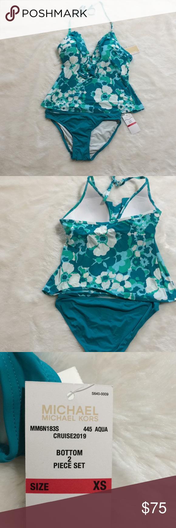 1c58a34e373c6 Michael Kors Cruise Aqua 2 Piece Swim NWT NWT - collection 2 piece bathing  suit - aqua cruise ruffle - green aqua and white floral print - size approx  xs ...