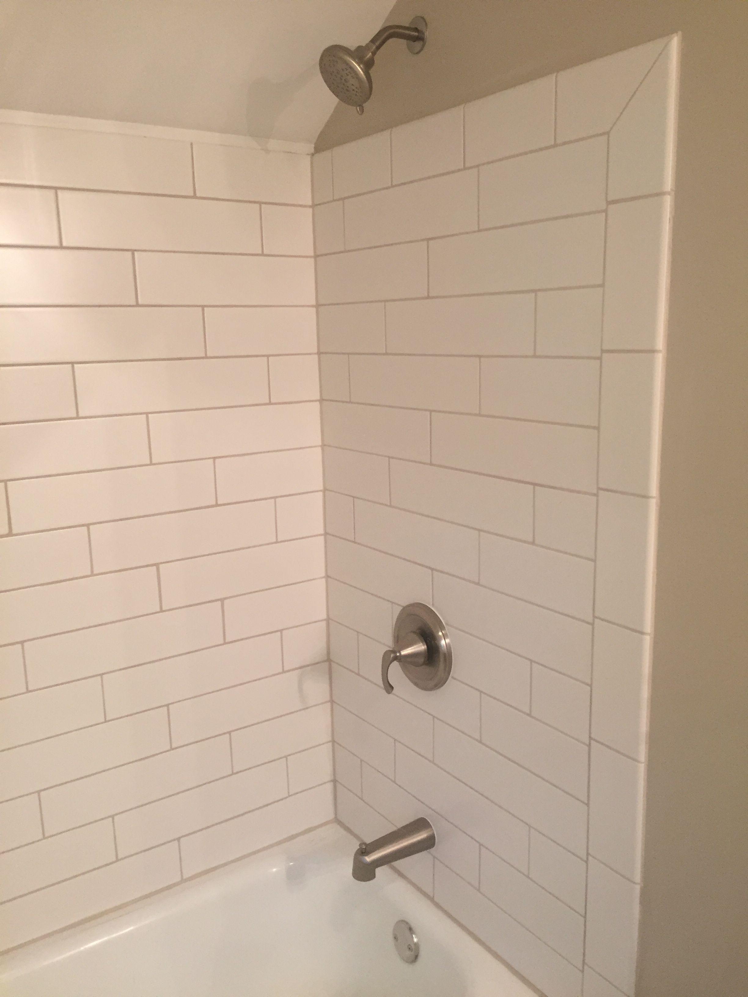 Large Subway Tile Expression Daylight 4 X16 Matte In The Main Bathroom White Bathroom Tiles Tile Bathroom Simple Bathroom