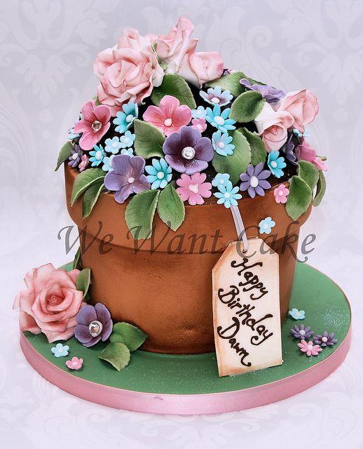 Dawn S Flower Pot Flower Pot Cake Pretty Birthday Cakes Mom Cake