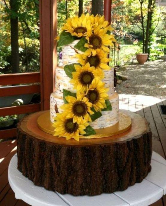 Sunflower Wedding Cake Birch Tree Fondant Wedding Cake Hand - Wedding Cake Tree Bark