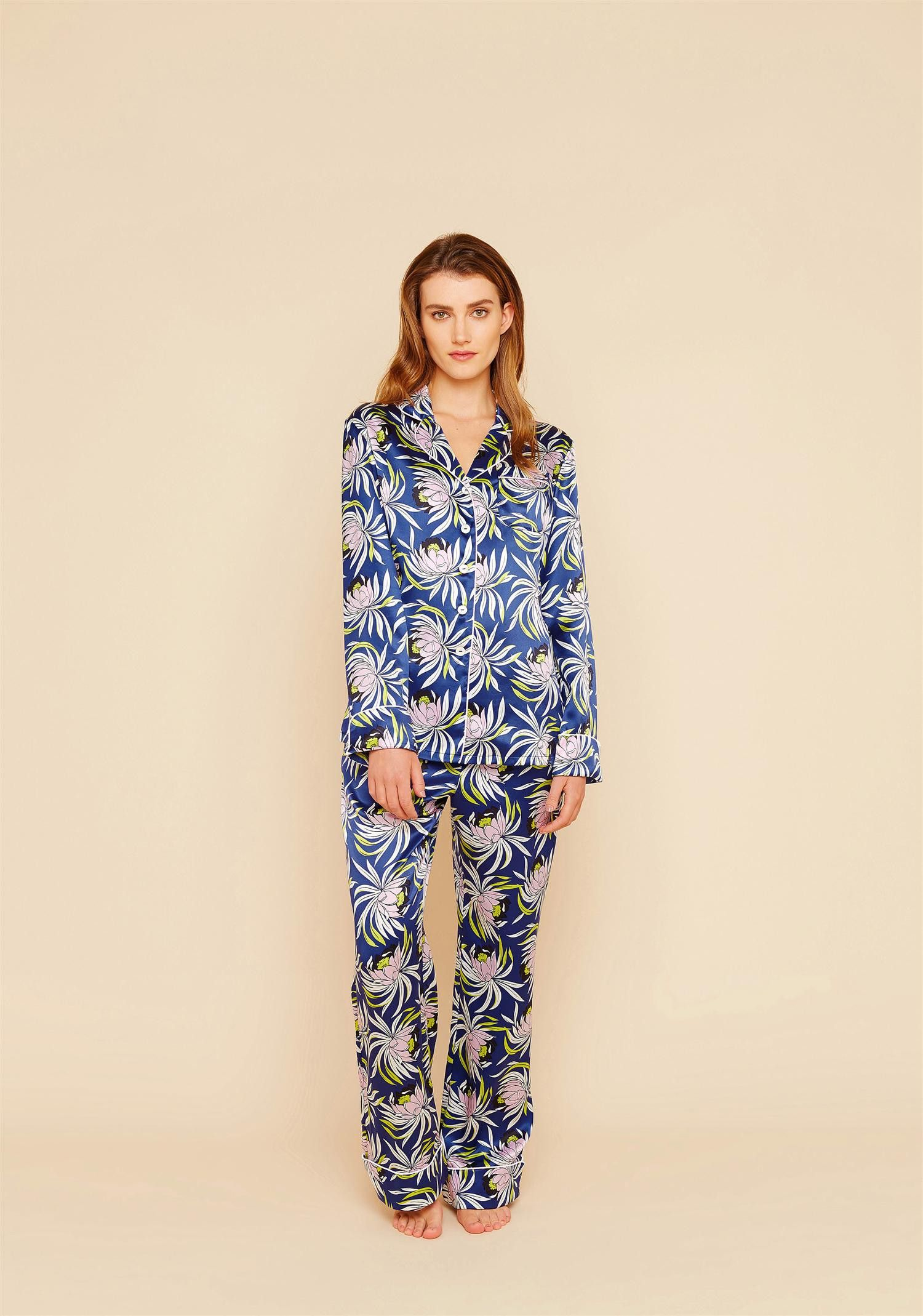Drawing inspiration from the opulence of luxe 1920s loungewear, Olivia von Halle's inimitable Lila silk pyjama is cut for a relaxed and fluid fit