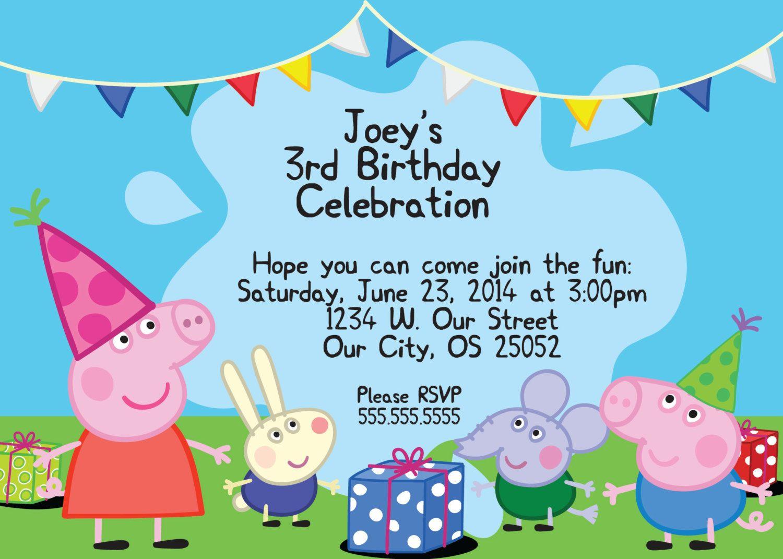 Invitaciones cumple peppa pig   Invitaciones cumple noa ...