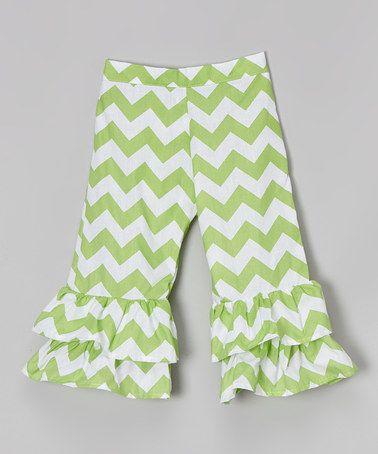 Loving this Green Chevron Ruffle Pants - Toddler & Girls on #zulily! #zulilyfinds