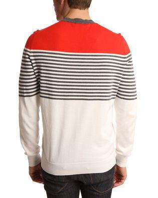 Pull col V rayé rouge bleu marine et blanc Dunhill