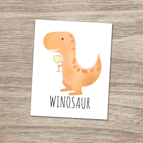 Wine Christmas Puns.Winosaur White Wine 8x10 Printable Poster Funny By