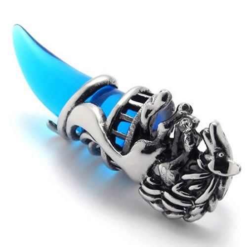 18″ Wolf Tribal Men's Stainless Steel Necklace Pendant, Silver Blue, 18 inch Chain.