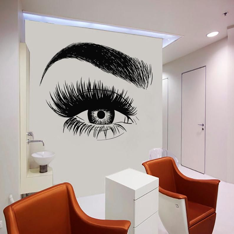 Wall Decal Window Sticker Beauty Salon Woman Face Eyelashes Lashes Eyebrows Brows t43