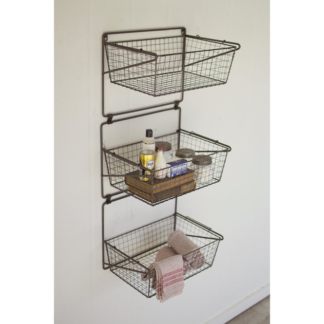 The Functionally Simple Design Of Our Wire Basket Wall Shelf Is