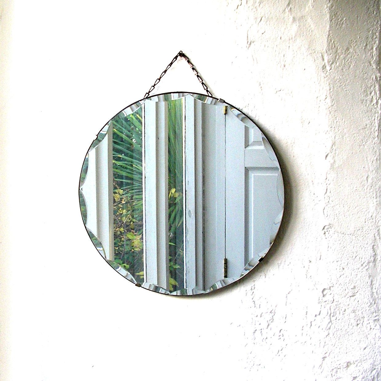 Vintage Art Deco round bevelled glass mirror circular 1930s wall hanging over mantle mirror glass chain retro living room hall decoration by IrishBarnVintage on Etsy