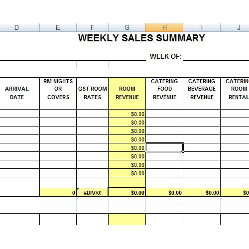Hotel Sales Summary  Excel    Planner Template