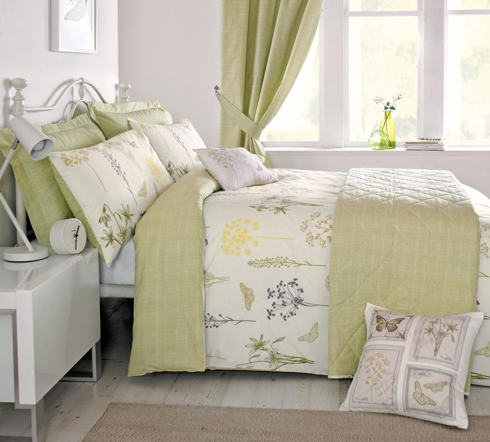 Green Lemon Spring Country Meadow Fl Duvet Cover And Pillowcase Set In Home Furniture Diy Bedding Bed Linens Sets Ebay