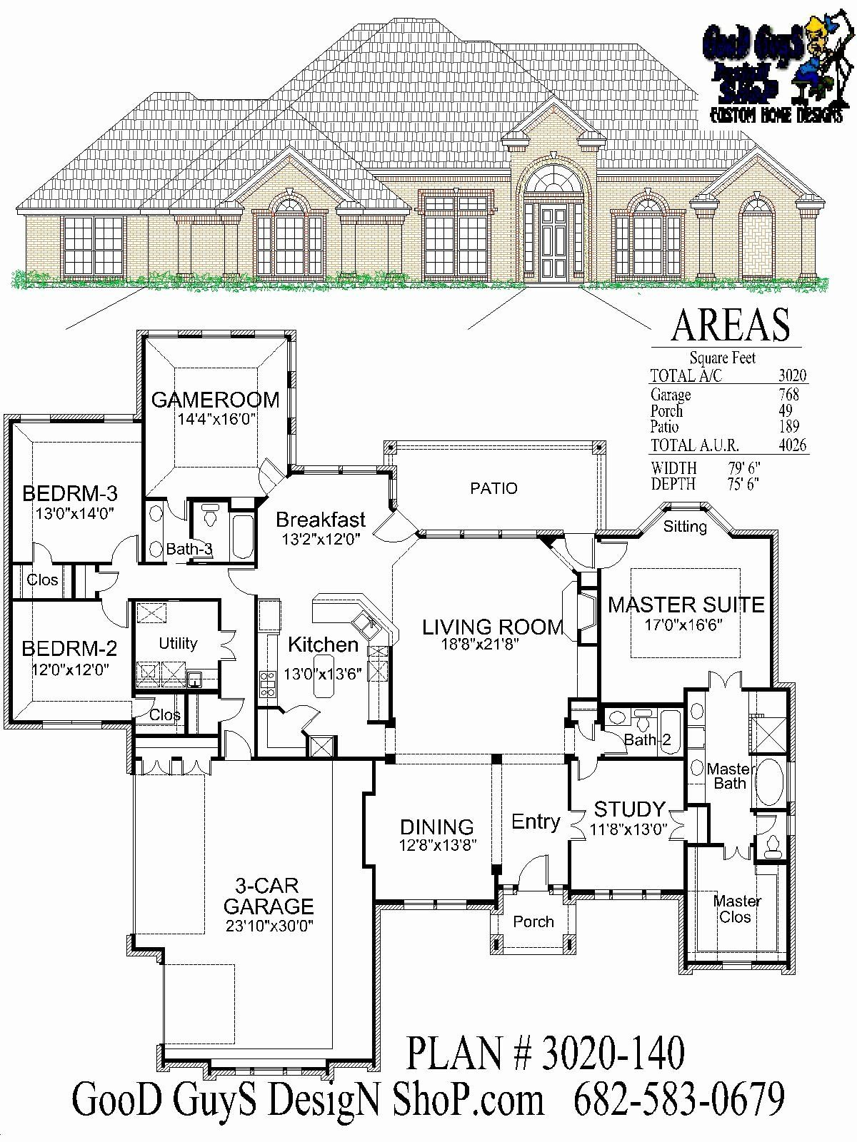 3000 Sq Feet House Plans Best Of Stock House Plan One Story Plan 3020 Sq Ft 3 Bedrooms 3 House Plans House Plans One Story Square House Plans