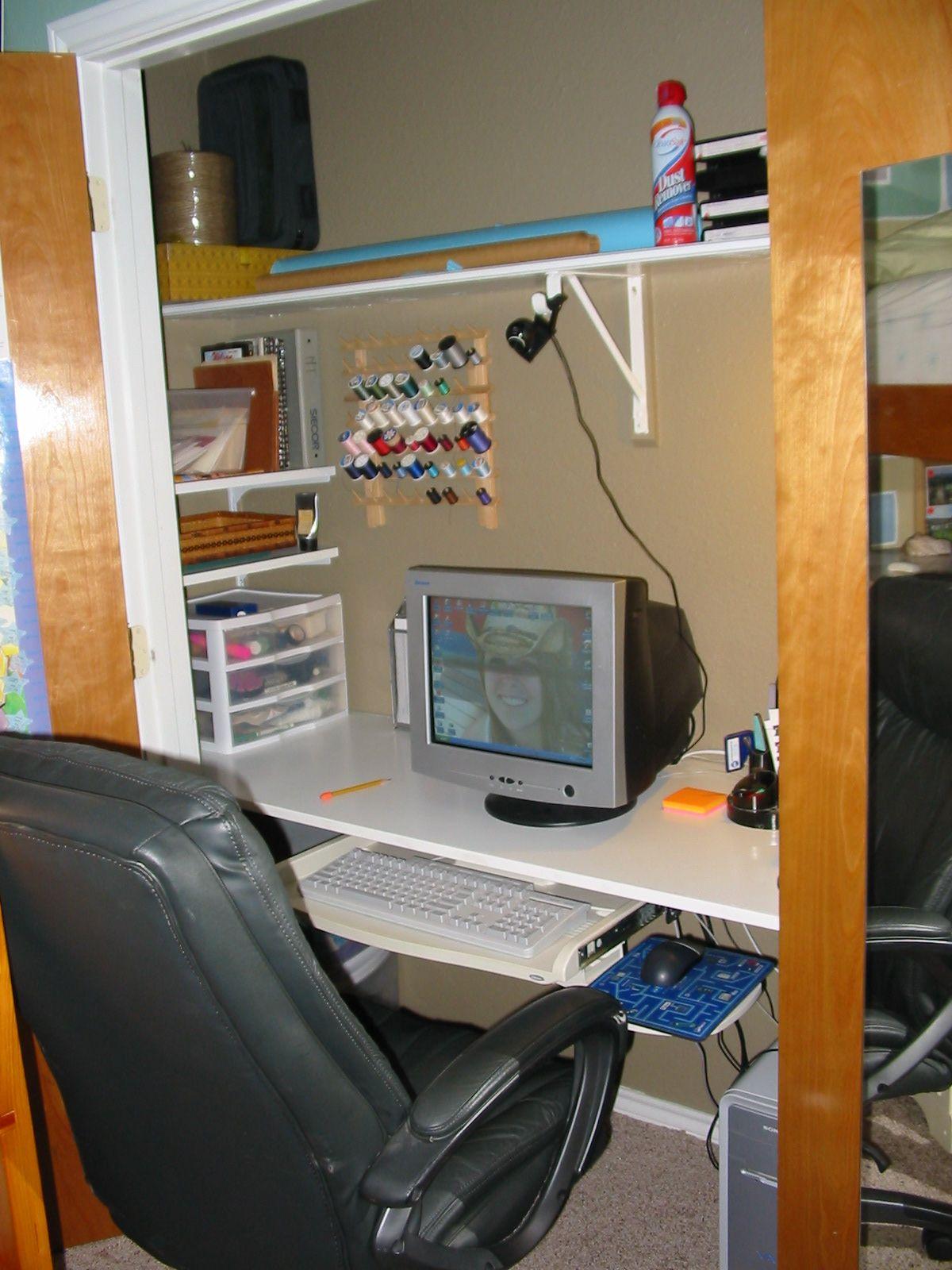 Convert closet to an office desk hung a slab of wood on