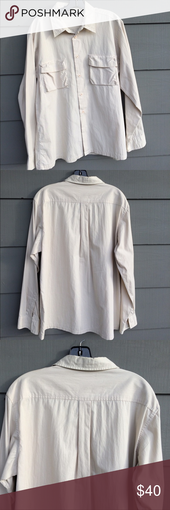 Club Monaco men's shirt Super soft cotton shirt with stylish pockets in front.  New condition. Beautiful shirt Club Monaco Shirts Casual Button Down Shirts