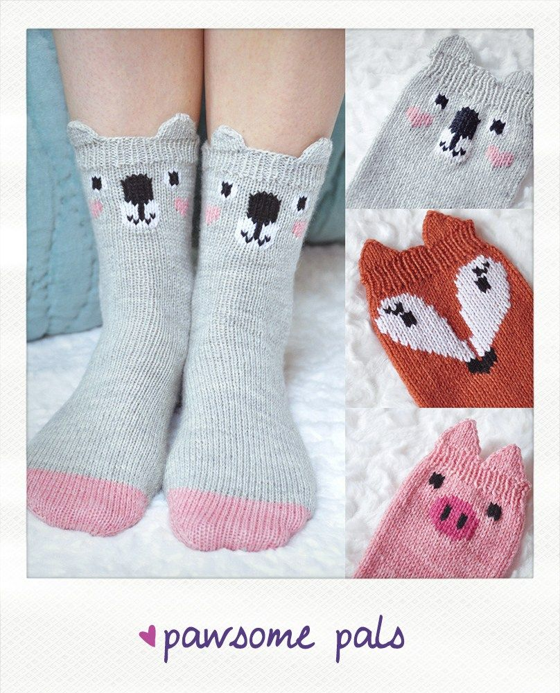 pawsome pals koala fox pig animal socks knitting pattern | Footwear ...