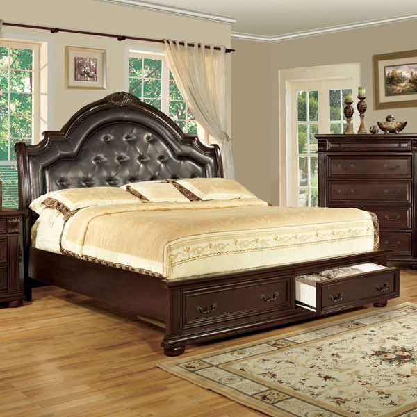 Scottsdale Baroque Style Brown Cherry Finish 6 Piece Bedroom Set