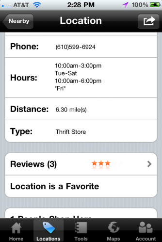 ThriftBuddy App - App Store - finds nearby thrift stores, flea markets, and garage sales
