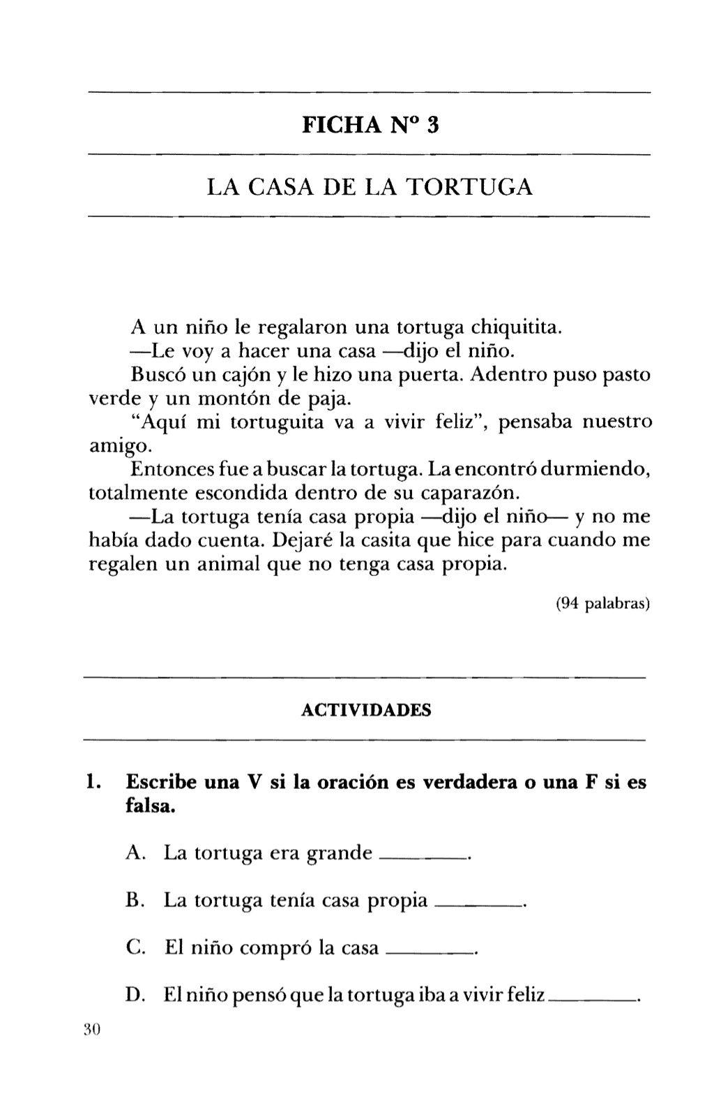 Ficha N 3 La Casa De La Tortuga A Un Nino Le Regalaron
