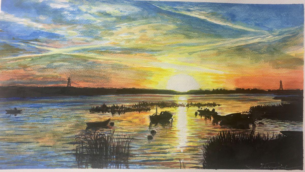 #watercolor #watercolorarts #horizon #sunset #sunsetpainting #lake #boat #nature