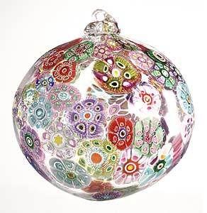 Christbaumkugeln Aubergine.Glass Ball Ornamented With Murrini Flowers Cam Dan Murano Glas