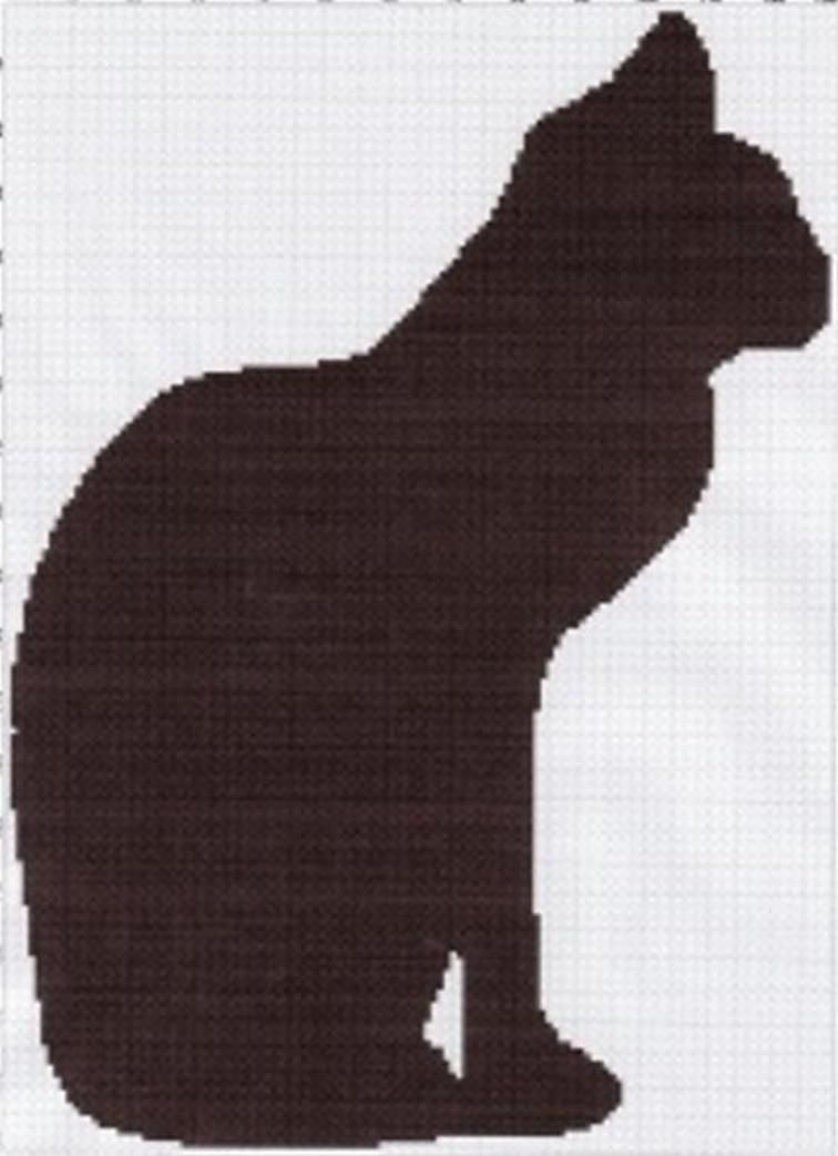 cat silhouette afghan graph pattern | Craftsy | Cats & Dogs | Pinterest