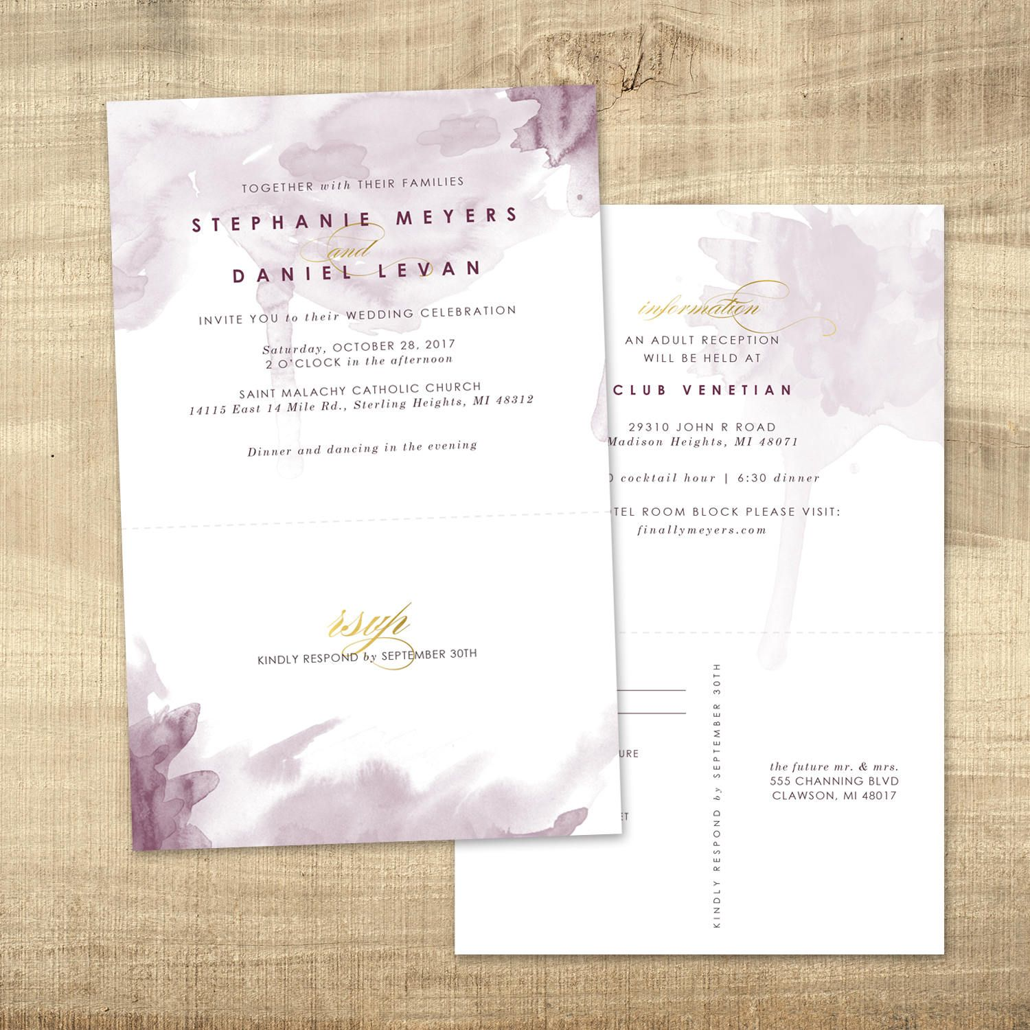 Custom Wedding Invitation With Tear Off Perforated Rsvp