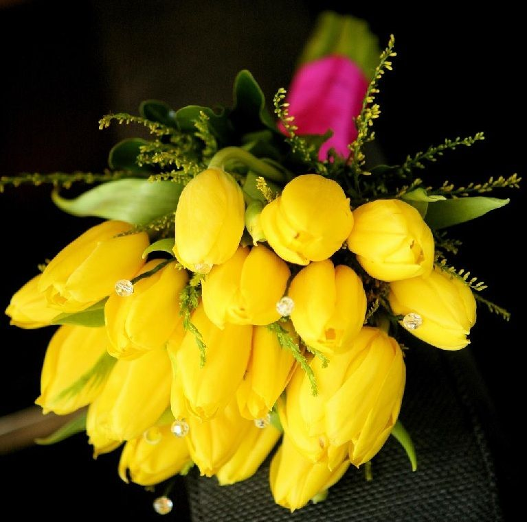 Yellow Tulip Wedding Bouquet - Wedding Bouquets | Yellow Tulip Bridal Bouquet | Bridal Flowers | Discount Wedding Flower Packages at BunchesDirect