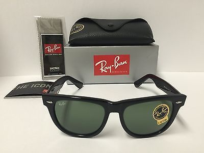 Ray-Ban RB2140 901 Original Wayfarer Sunglasses Black Frame Green 54mm  Lenses 14a4ac06db
