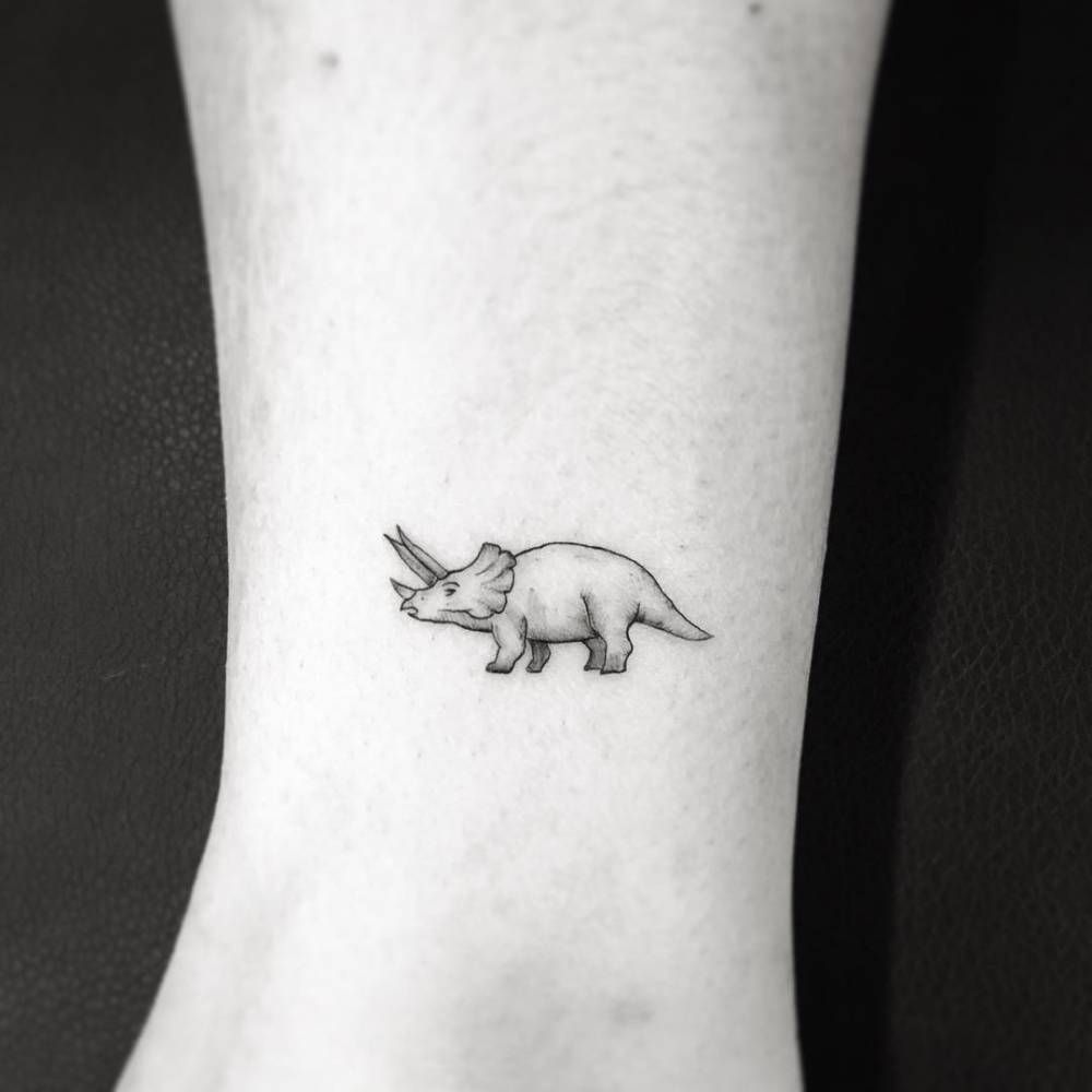 Dinosaur Tattoos Designs Ideas And Meaning: Triceratops Ankle Tattoo. Good Lord. This Is Too Cute