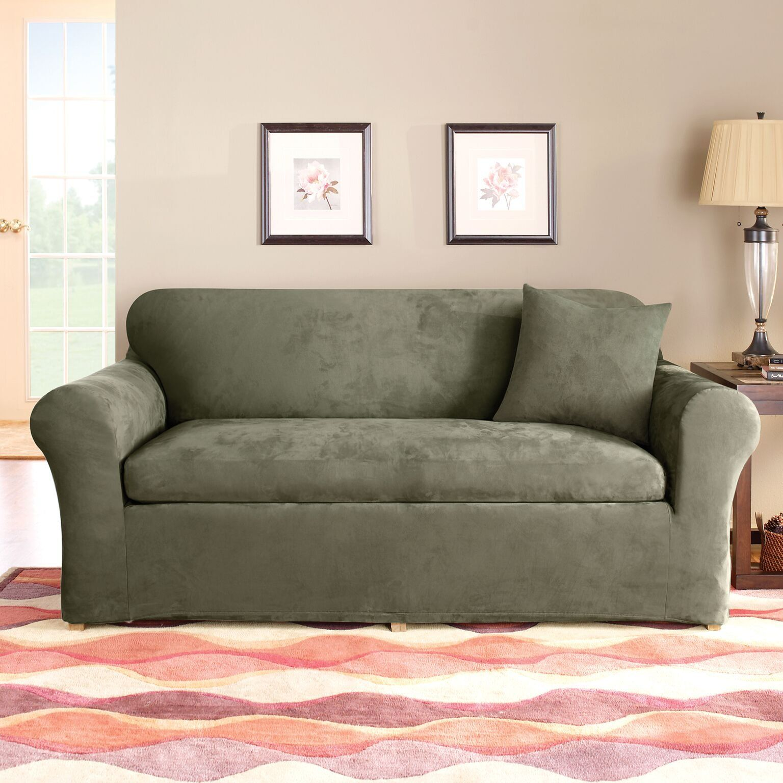 Sure Fit Sf37532 3piece Stretch Suede Dark Green Sofa You Can Find More Details By Visiting The I Cushions On Sofa Loveseat Slipcovers Slipcovers