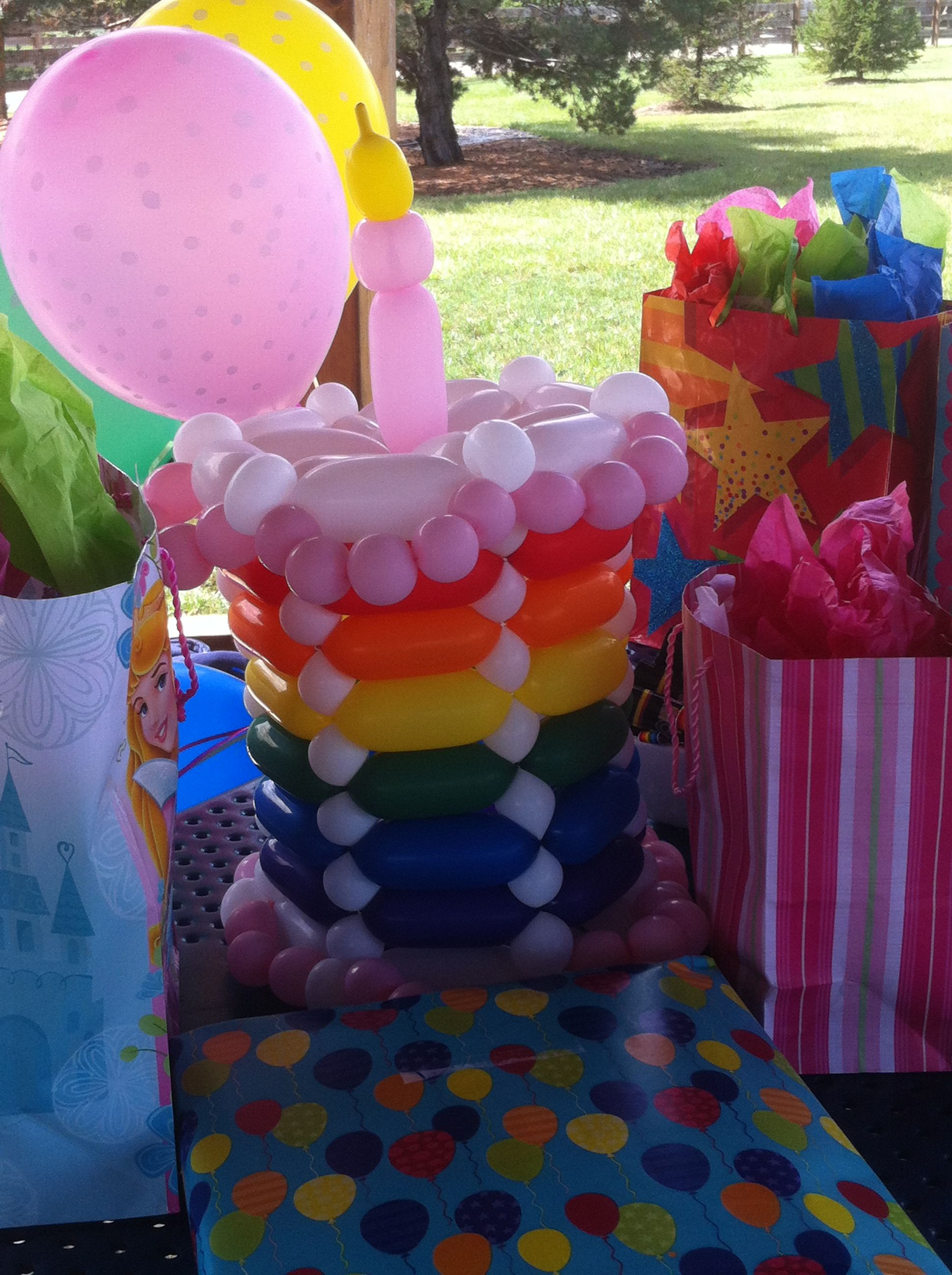 Balloon Rainbow Birthday Cake Balloon Sculptures